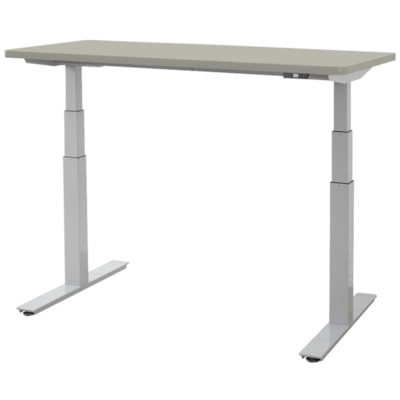 """ergoCentric upCentric Height-Adjustable Table, Dove Grey, 24"""" x 60"""" 24""""X60""""  ELECTRIC W 2 GROMMETS SILVER FRAME  GREY TABLE TOP"""