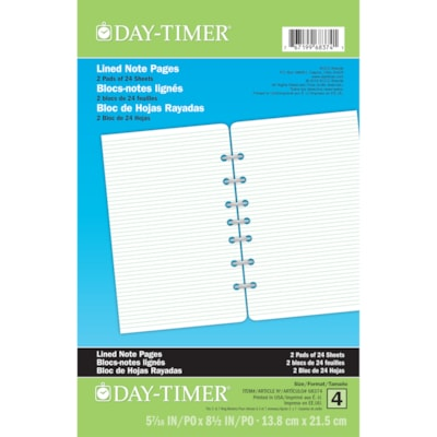 """Day-Timer Lined 7 Hole-Punched Note Pages, 5 1/2"""" x 8 1/2"""", Trilingual, 2 Pads of 24 Sheets 5-1/2 X 8-1/2 TRILINGUAL"""