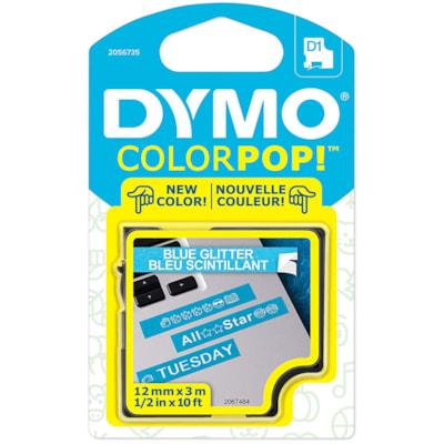 "DYMO ColourPop D1 Tape, White Type/Blue Glitter Label, 12 mm x 3 m (1/2"" x 10')"