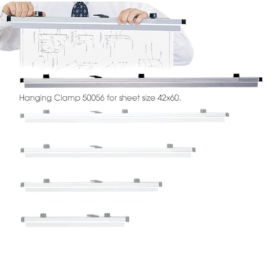 """Safco Extruded Aluminum Hanging Clamps, Grey, 42"""", 6/CT"""