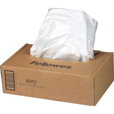 Fellowes Powershred Waste Bags for 90S, 99Ci and B Series Shredders, Clear, 100/CT FOR PERSONAL POWERSHRED
