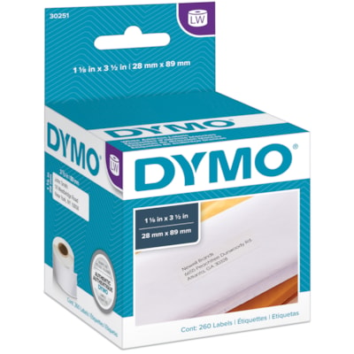 "DYMO LabelWriter Address Thermal Labels, White, 1 1/8"" x 3 1/2"", 130 Labels/Roll, 2 Rolls/BX 1-1/8""X3-1/2"" 130 LABELS PER ROLL DYMO"
