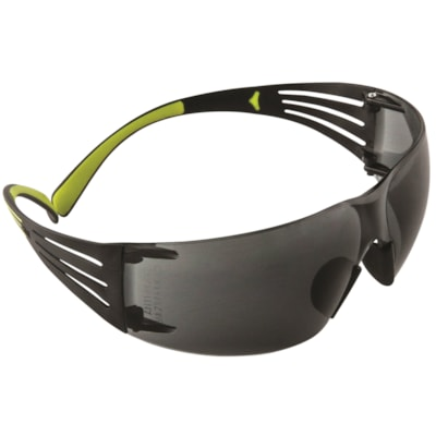 3M SecureFit Protective Eyewear 400 Series, Grey Anti-Scratch and Anti-Fog Lens, Frameless with Black Temple and Yellow  GRAY LENS W/BLACK TEMPLE ANTI-FOG LENS  3M