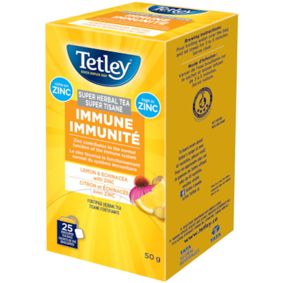 Tetley Tea Super Herbal Immune Lemon and Echinacea with Zinc Tea, 25/BX