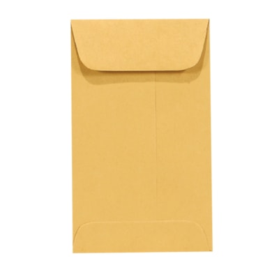 "Quality Park Open-End Coin Envelopes, Kraft, 2 1/4"" x 3 1/2"", 500/BX KRAFT WITH GUMMED FLAP 2-1/4 X 3-1/2 500 PER BOX"