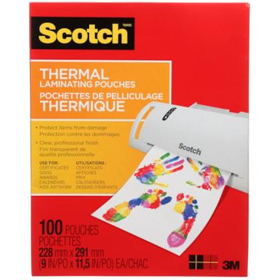 Pochettes de plastification thermique format lettre Scotch, 3 mils, emb. de 100 TP3854-100-C 9INX11.5IN (228MMX291MM)