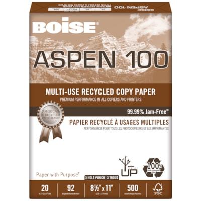 Papier recyclé de choix à usages multiples Aspen 100 Boise, 20 lb, Format Lettre, 3 trous, rame 100% FIBRE DE POST-CONSOM.