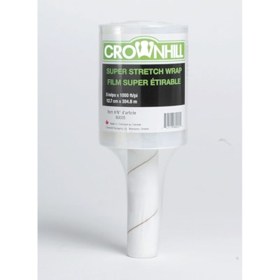 "Crownhill Super Stretch Handheld Pallet Wrap 5"" X 1000' HAND HELD ROLLER"