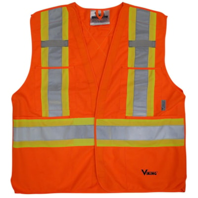 Viking 5-Point Bright Orange Tear Away L/XL Safety Vest CLASS 2 LEVEL 2 5PT TEARAWAY HI-VIS GREEN
