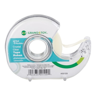 Grand & Toy Tape with Refillable Dispenser, Crystal Clear, 12 mm x 33 m 33M LONG