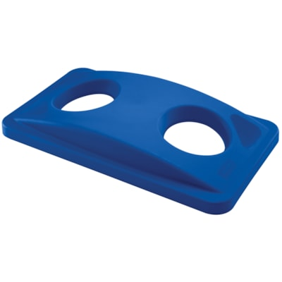 Rubbermaid Commercial Slim Jim Bin Lid, For Bottles/Cans, Recycle Blue BLUE  FITS SLIM JIM CONTAINERS