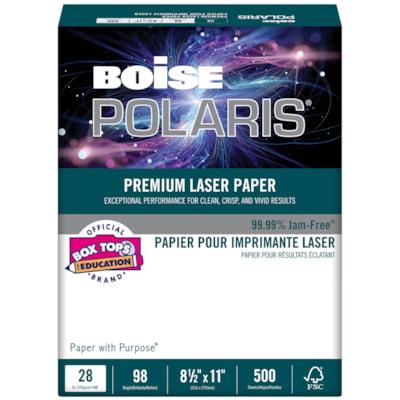 Papier laser Polaris Boise, Certifié FSC, rame BRILLANCE 98  500/EMB  BLANC REMPLACE LL1032