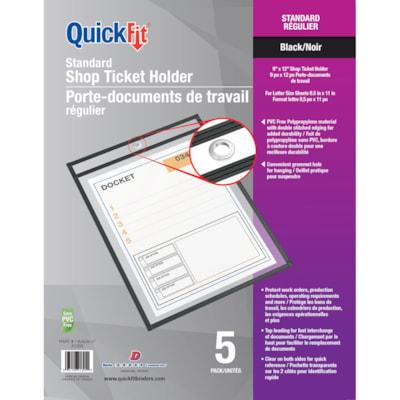 Davis Group QuickFit Shop Ticket Holders, Standard, Black, Letter-Size, 5/Pk 5 PACK  9X12  PVC FREE W/GROMMET HOLE FOR HANGING