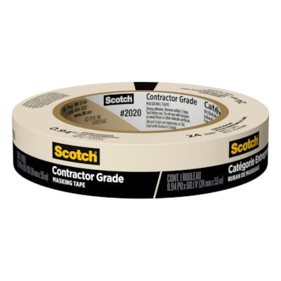 Scotch 2020 Contractor Grade Masking Tape, Tan, 24 mm x 55 m FOR GENERAL PURPOSE