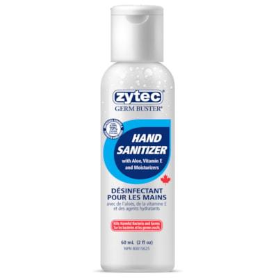 Désinfectant pour les mains en gel avec aloès, vitamine E et hydratants Germ Buster zytec, 70 % d'alcool, 60 ml