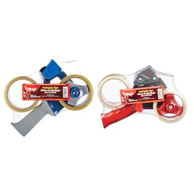 Vibac Handheld Packaging Tape Dispenser Pack CARTON SEALING TAPE  HOT MELT 2 ROLL/PACK WITH DISPENSER