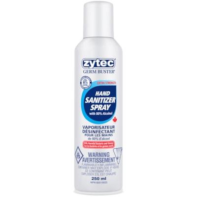 zytec Germ Buster Hand Sanitizer Spray, 80% Alcohol Content, 250 mL ZYTEC GERM BUSTER 80% ALCOHOL