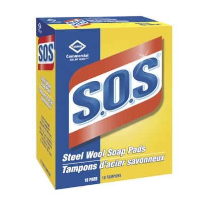 Clorox Commercial Solutions S.O.S Steel Wool Soap Pads, 18/Box REPLCMNT FOR #383880285 QTY 10
