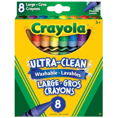Crayola Ultra-Clean Washable Large Crayons, Assorted Colours, 8/PK