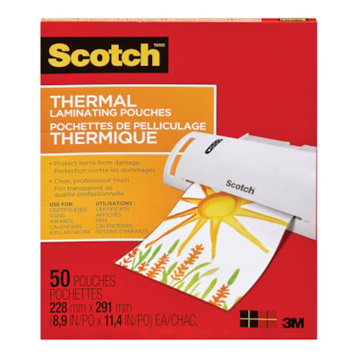 "Scotch Letter Size Thermal Laminating Pouches, 3 mil, Pack of 50 LETTER 9"" X 11 1/2"" 50/PK"