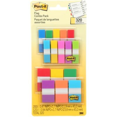 """Post-it 1"""" and 1/2"""" Flags Value Pack, Assorted Bright Colours, 320 Flags/PK BRIGHT COLOURS"""