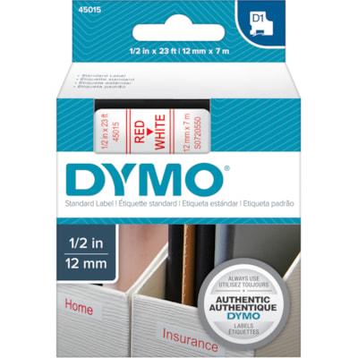 DYMO D1 Label Cassette, Red Type/White Tape, 12 mm x 7 m