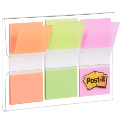 """Post-it Standard Flags with On-The-Go Dispenser,Green/Orange/Pink, 1"""" x 1 7/10"""", 20 Flags/Colour, 3 Colours/PK ON THE GO DISPENSER"""