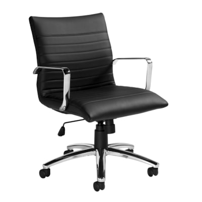 Offices To Go Ultra Low-Back Tilter Office Chair, Fully Assembled, Black Luxhide Bonded Leather Seat/Back BLACK LUXHIDE FULLY ASSEMBLED