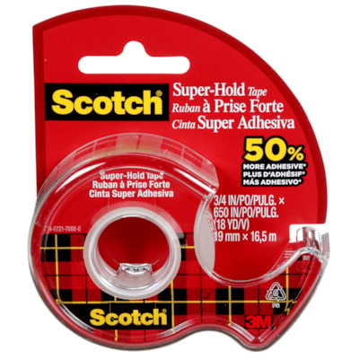 Scotch Super-Hold Tape, Clear, 19 mm x 16.5 m 3/4IN X 650IN 50% MORE ADHESIVE