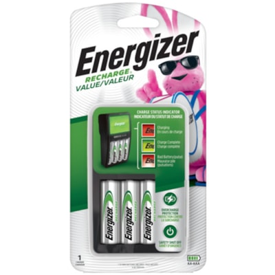 """Energizer Value Charger With 4 """"AA"""" NiMH Rechargeable Batteries (CHVCMWB4) CHARGE STATUS INDICATOR INCL.4 AA RECHARGBLE BATTERIES"""