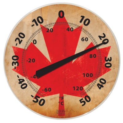 """BIOS Living Weather-Resistant Thermometer, Canadian Flag Design, 12"""" Dial WEATHER RESISTANT"""