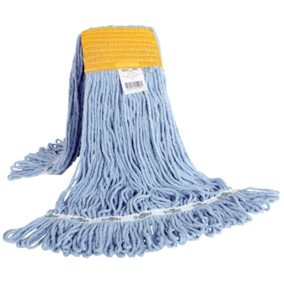 Globe Commercial Products Synthetic Looped-End Wet Mop, Yellow Wide-Band, Blue, 24 oz LOOPED END  SYNTHETIC  BLUE