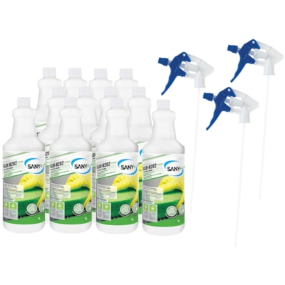Sany+ General Purpose Disinfectant Cleaner, Ready-To-Use (RTU), 1 L, 12/CS 3 TRIGGERS+9 REFILL BOTTLES