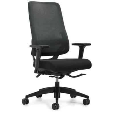 Global Sora High-Back Synchro-Tilter Chair, Black, Fabric Seat/Mesh Back SYNCHRO-TILTER  ADJUSTABLE ARM MESH BACK AND UPHOLSTERED SEAT