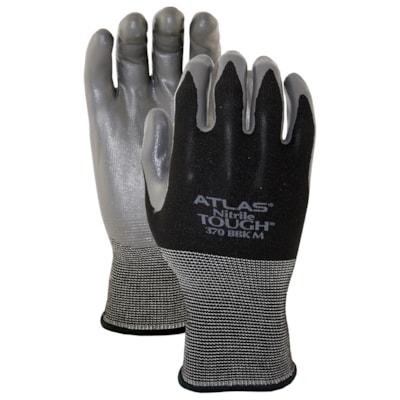 380 Atlas Blackhawk Nitrile-Coated Gloves, Medium, Black/Grey, 6 Pairs/PK NITRILE COATED  TEXTURE FINISH SIZE MEDIUM