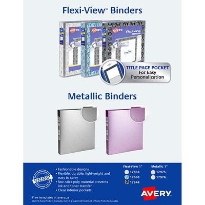 """Avery 1"""" Metallic Flexible Poly Round-Ring Binder, Grey 1""""  ROUND RINGS GREY"""