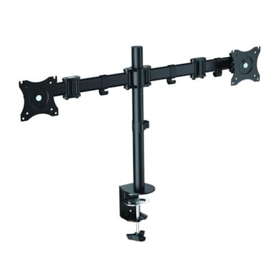Rocelco Desk Mount Dual-Monitor Arm, Black Arm