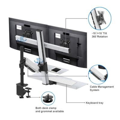 Rocelco Dual Adjustable Monitor Mount, Silver/Black elco EFD