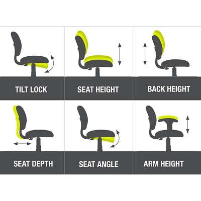 ErgoCentric Saffron Mid-Back Ergonomic Multi-Tilt Task Chair, Regimental Blue SEAT/RATCHET BACK BLUE VINYL HEIGHT WIDTH ADJUSTABLE ARMS