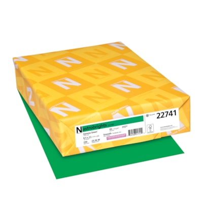 Papier couverture Astrobrights Neenah, couleur vert Gamma Green, format lettre, certifié FSC et Green Seal, 65 lb, rame FSC LASER JET D'ENCRE GARANTIE GAMMA VERT