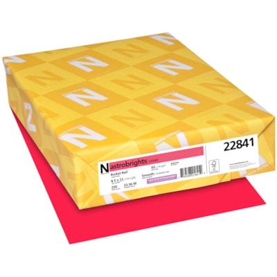 Papier couverture Astrobrights Neenah, couleur rouge Rocket Red, format lettre, certifié FSC et Green Seal, 65 lb, rame FSC LASER INKJET GUARANTEED ROCKET RED
