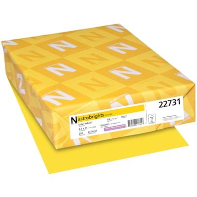 Papier couverture Astrobrights Neenah, couleur jaune Solar Yellow, format lettre, certifié FSC et Green Seal, 65 lb, rame FSC LASER INKJET GUARANTEED SOLAR YELLOW