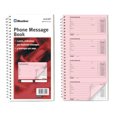 Blueline Telephone Message Book 400 MESSAGES  4 PER PAGE SPIRAL BINDING  FLEX. COVER