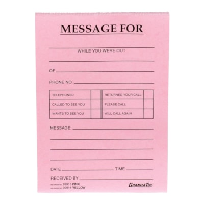 "Grand & Toy Phone Message Pads, Pink, 4 1/4"" x 5 1/2"", 10/PK 4 ¼ X 5 ½ BLACK PRINT 72/PAD"