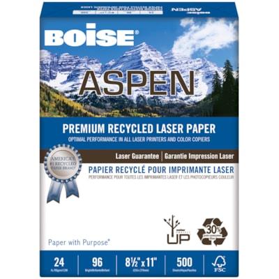 Papier 30 % recyclé haut de gamme pour imprimante laser Aspen Boise, Blanc, Certifié FSC, Poids : 24 lb, Caisse 8.5X11