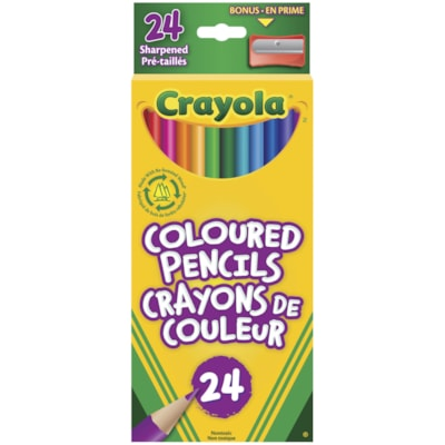 Crayola Coloured Pencils, Assorted Colours, 24/PK PRESHARPENED