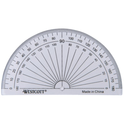 Westcott 180-Degree Protractor 100 MM BASE BEVELLED EDGES CLEAR MARKINGS FOR EASY READ