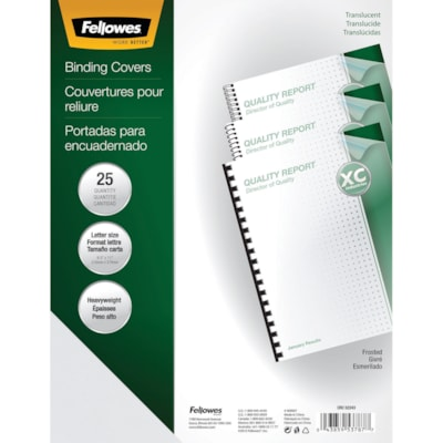 Fellowes Frosted Letter-Size Presentation Binding Covers With Square Corners LETTER FROSTED; 25 PACK