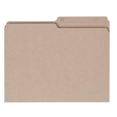 Grand & Toy Recycled File Folders, Natural, Letter-Size, 100/BX 100% RECYCLED 1/2 TAB REVERSI- BLE SCORED FOR EXPANSION