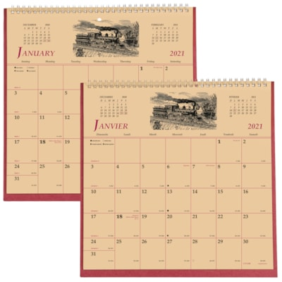 """Brownline 12-Month 2-Sided Monthly Wall Calendar, 11"""" x 11"""", January - December, Bilingual ENGLISH/FRENCH MONTH/PAGE 50% PCW"""